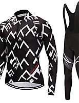 Cycling Jersey with Bib Tights Unisex Long Sleeves Bike Clothing Suits Fast Dry Checks Fashion Winter Cycling/Bike White Black
