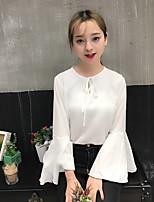 Mujer Casual/Diario Otoño Camiseta,Escote Redondo Un Color Manga Larga Algodón Medio