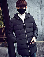 Men's Padded Coat,Simple Going out Casual/Daily Letter-Others Cotton Long Sleeves
