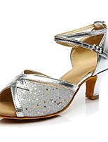 Women's Latin Paillette Heel Indoor Customized Heel Silver Customizable