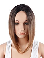 Women Synthetic Wig Capless Short Brown Ombre Hair Party Wig Costume Wig