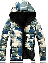 Men's Regular Padded Coat,Street chic Going out Casual/Daily Camouflage-Cotton Cotton Long Sleeves