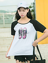 Women's Daily Casual T-shirt,Print Color Block Round Neck Short Sleeves Cotton