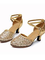 Women's Modern Sparkling Glitter Sneaker Indoor Buckle Low Heel Gold Black Silver Red