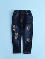 Boys' Animal print Cartoon Embroidered Jeans-Cotton Fall All Seasons