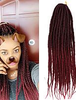 1 Pack Box Braids Crochet  Ombre Braiding Hair Synthetic Hair Black/Purple Black/Blue Medium Brown Strawberry Blonde/Light