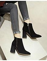 Mujer Zapatos Cuero de Napa PU Otoño Invierno Botas de Moda Botas de Combate Botas Tacón Plano Botines/Hasta el Tobillo Para Casual Negro
