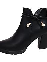 Feminino Sapatos Couro Ecológico Outono Botas da Moda Botas Salto Grosso Ponta Redonda Ziper Para Casual Preto Vermelho