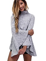 Women's Daily Winter Fall T-shirt,Solid Turtleneck Long Sleeves Cotton Rayon Medium