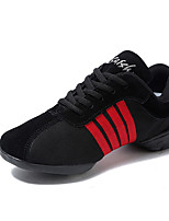 Men's Dance Sneakers Canvas Split Sole Daily Customized Heel Black/Red Customizable