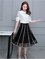 Women's Simple Summer T-shirt Skirt Suits,Solid Round Neck Micro-elastic