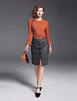 YIYEXINXIANG Women's Casual/Daily Work Sophisticated Fall Sweater Skirt Suits,Solid Round Neck Long Sleeve