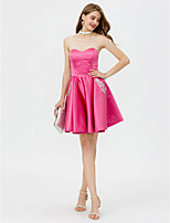 A-Line Sweetheart Short / Mini Satin Cocktail Party Dress with Beading Crystal Detailing Pockets Pleats by TS Couture®