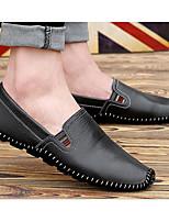 Hombre Zapatos Cuero de Napa Cuero Primavera Otoño Suelas con luz Zapatos de taco bajo y Slip-On Para Casual Negro Beige Azul Oscuro
