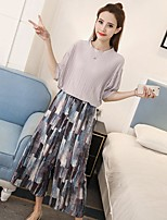 Women's Casual/Daily Simple Blouse,Print Round Neck Half Sleeves Rayon