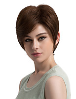 Women Human Hair Capless Wigs Brown Short Kinky Straight Side Part Hot Sale