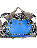 Women Bags All Seasons Canvas Tote Beading Zipper for Shopping Casual Blue