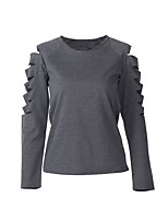 Women's Going out Casual T-shirt,Solid Round Neck Long Sleeves Cotton