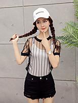 Mujer Sexy Noche Camiseta,Escote Redondo A Rayas Manga Corta Algodón