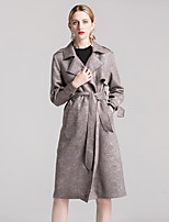 ALLA ONER Women's Going out Casual/Daily Simple Winter Trench Coat,Print Notch Lapel Long Sleeve Long Polyester Nylon Patchwork