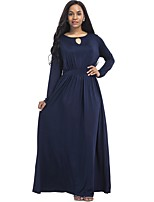 Women's Daily Plus Size Street chic Sheath Dress,Solid Round Neck Maxi Long Sleeves Cotton Polyester Spandex Fall Medium Waist Stretchy