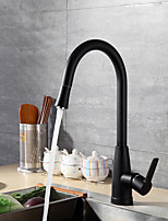 Contemporary Modern/Contemporary Vessel Widespread Pull out Ceramic Valve Black Oxide Finish , Kitchen faucet