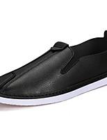 Hombre Zapatos PU microfibra sintético Primavera Otoño Confort Zapatos de taco bajo y Slip-On Para Casual Negro Naranja