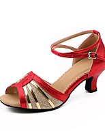 Women's Latin Synthetic Microfiber PU Net Indoor Buckle Low Heel Gold Black Red