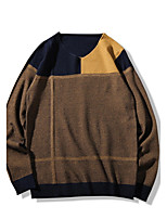Men's Plus Size Casual/Daily Simple Regular Pullover,Color Block V Neck Long Sleeves Cotton Polyester Spring Fall Medium Micro-elastic