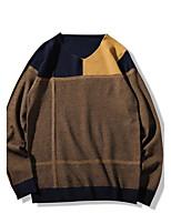 Для мужчин На каждый день Большие размеры Простое Обычный Пуловер Контрастных цветов,V-образный вырез Длинный рукав Хлопок Полиэстер