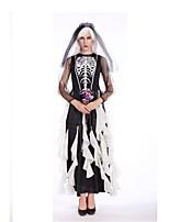 Squelette / Crâne Zombie Tenue Féminin Halloween Le jour des morts Fête / Célébration Déguisement d'Halloween Noir Rayure Rétro