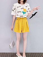 Women's Going out Street chic Summer T-shirt Pant Suits,Floral Lace Round Neck Short Sleeve Backless Inelastic