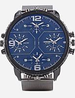 abordables -Homme Chinois Quartz Calendrier Chronographe Etanche Triple Fuseaux Horaires Grand Cadran Alliage Bande Argent