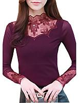 Tee-shirt Femme,Couleur Pleine Décontracté / Quotidien Printemps Automne Manches Longues Col Roulé Polyester Moyen
