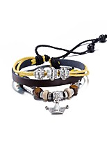Men's Women's Leather Bracelet Friendship Punk PU Alloy Crown Jewelry For Daily Casual Stage Office & Career Street