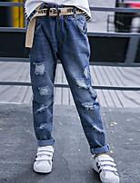 Jeans Fille Couleur Pleine Polyester Automne