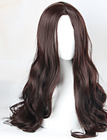 Women Synthetic Wig Capless Long Wavy Brown Middle Part Cosplay Wig Costume Wig