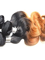 Remy Brazilian Ombre Hair Weaves Body Wave Hair Extensions Three-piece Suit Black/Medium Brown/Strawberry Blonde