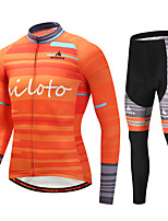 Miloto Cycling Jersey with Tights Men's Long Sleeves Bike Clothing Suits Stretchy Autumn/Fall Winter Cycling/Bike Orange