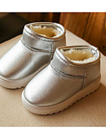 Girls' Shoes PU Fall Winter Fluff Lining Snow Boots Boots For Casual Red Beige Silver Black