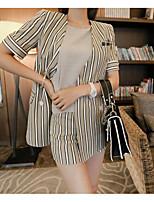 Damen Gestreift Einfach Lässig/Alltäglich T-Shirt-Ärmel Hose Anzüge,Rundhalsausschnitt Sommer Kurzarm Mikro-elastisch