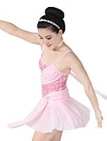 Balletto Vestiti Per donna Per bambini Esibizione Elastico Elastene Con strass Licra Plissettato Paillettes Senza maniche Cadente Abiti