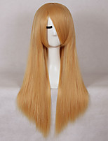 Women Synthetic Wig Capless Long Straight Blonde With Bangs Cosplay Wig Costume Wig