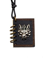 Men's Women's Pendant Necklaces Locket Wolf Wood Alloy Vintage DIY Jewelry For Party Gift