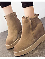 Women's Shoes Nappa Leather Fall Winter Fashion Boots Combat Boots Boots Booties/Ankle Boots For Casual Khaki Gray Black