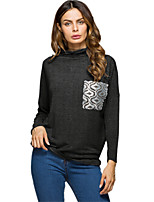Women's Holiday Going out Street chic Winter Spring T-shirt,Solid Turtleneck Long Sleeves Cotton Medium
