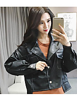 Women's Casual/Daily Simple Fall Winter Leather Jacket,Solid Peaked Lapel Long Sleeve Regular Calfskin
