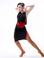 Latin Dance Dresses Women's Performance Chinlon Milk Fiber Net Sleeveless Dress