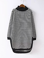 Men's Casual/Daily Regular Cardigan,Striped Stand Long Sleeves Acrylic Fall Winter Medium Micro-elastic