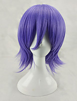 Men Synthetic Wig Capless Medium Length Straight Purple Layered Haircut Halloween Wig Carnival Wig Cosplay Wig Costume Wig